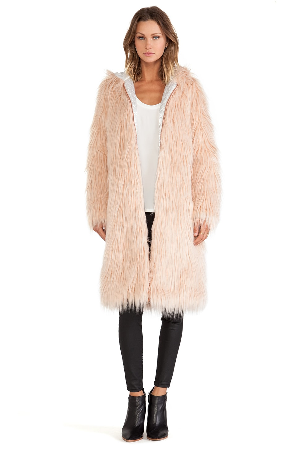 Chaser Hooded Faux Fur Coat in Solid Petal | REVOLVE