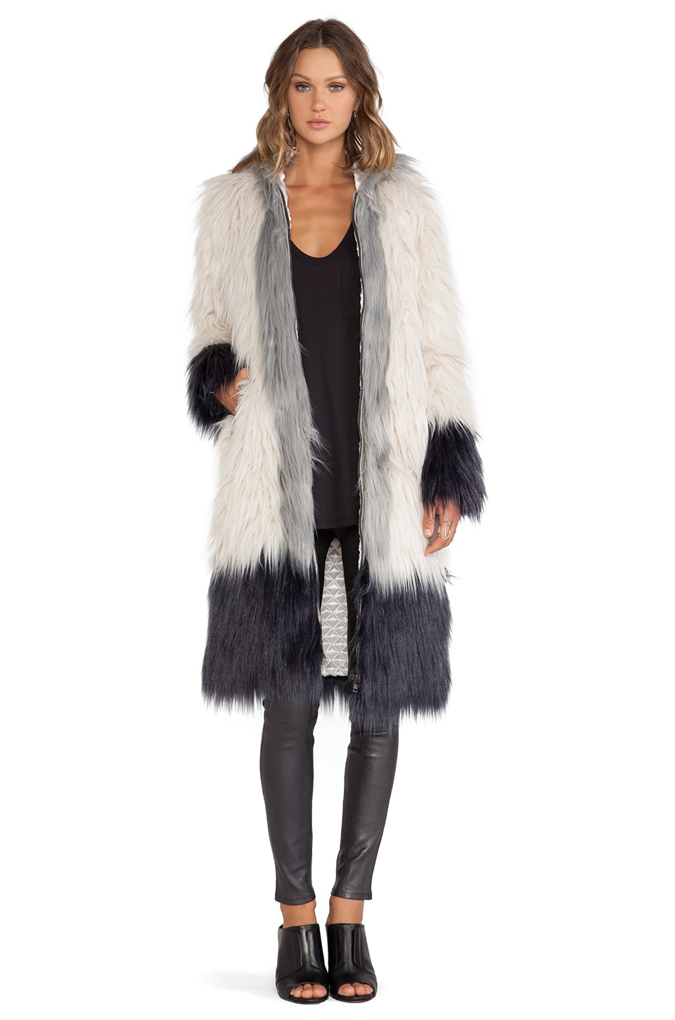 Chaser Hooded Faux Fur Coat in Swiss Coffee, Night & Platinum ...