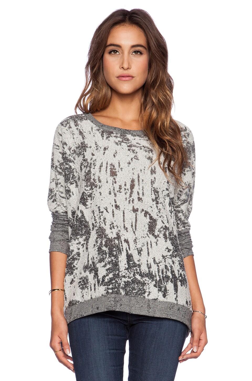 Chaser Teardrop Dolman Sweatshirt in Grey & White