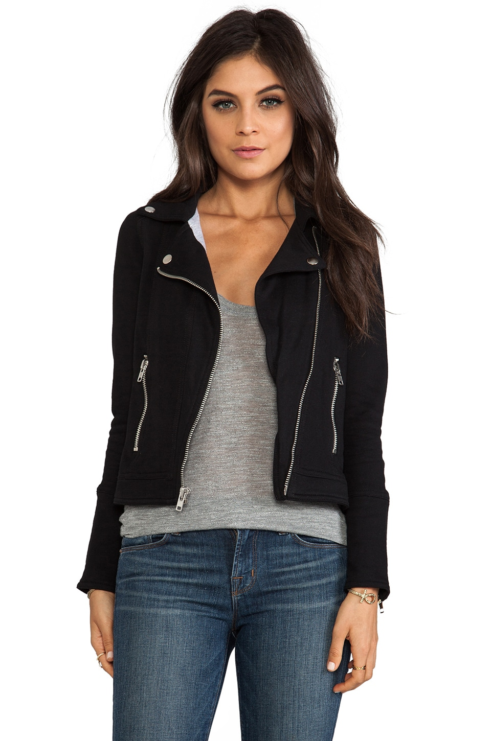 Chaser Fleece Moto Jacket in Black