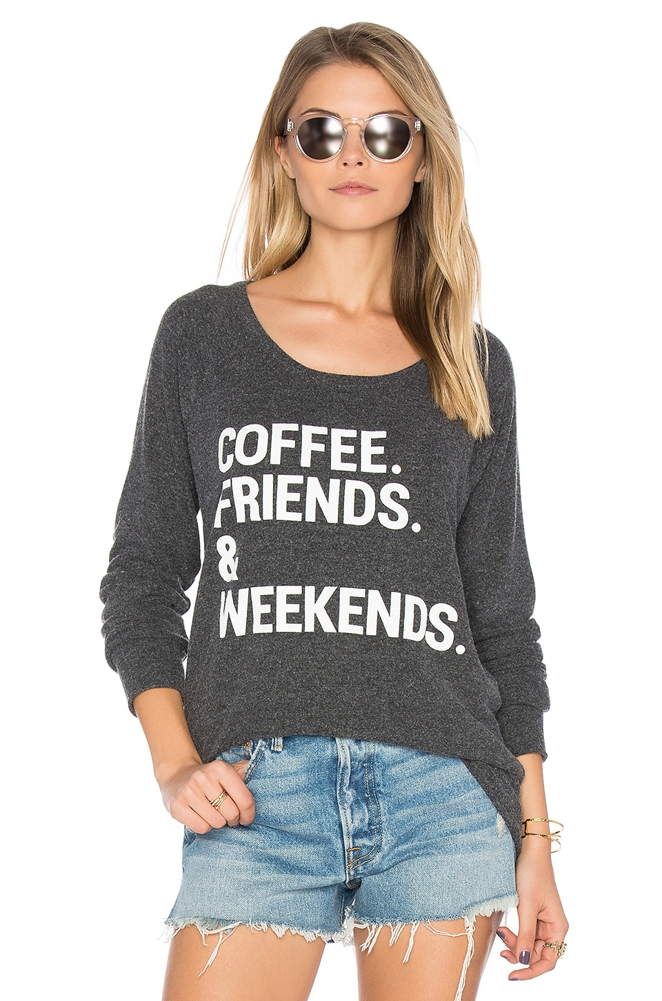 Chaser Coffee Friends & Weekends Pullover in Black