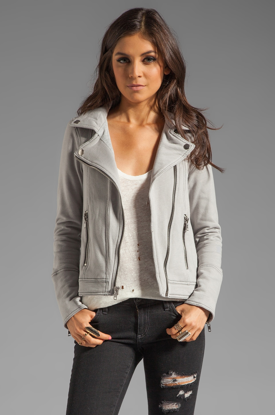 Chaser Fleece Moto Jacket in Metal