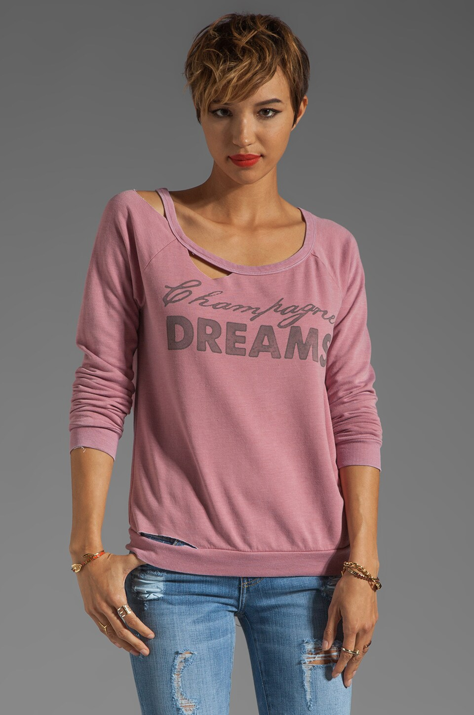 Chaser Champagne Dreams Deconstructed Raglan in Dark Rose