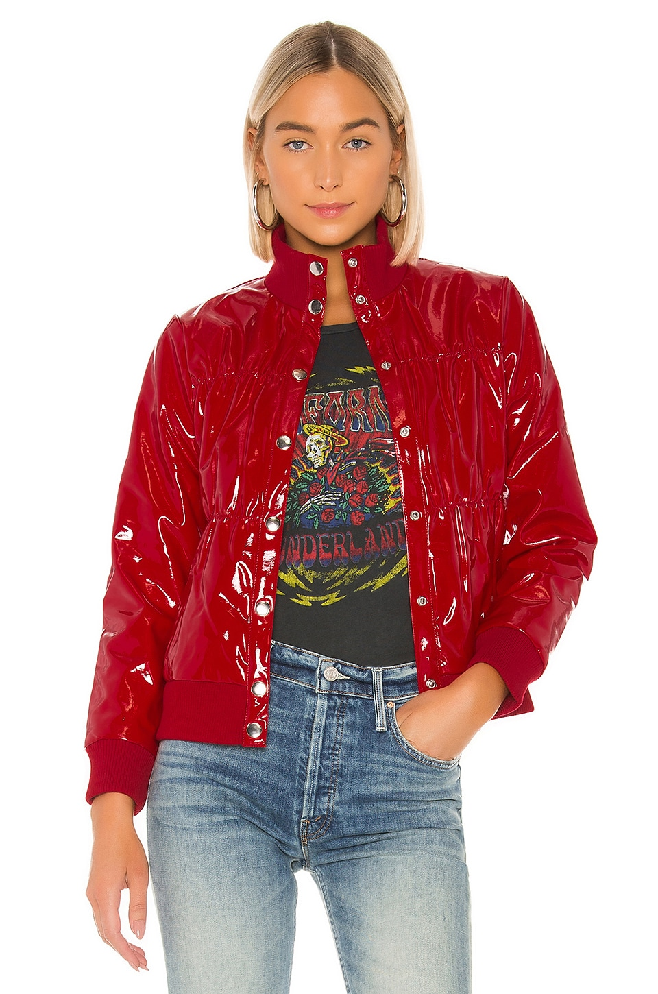 Chaser Shiny Vinyl Puffer Jacket in Candy Apple