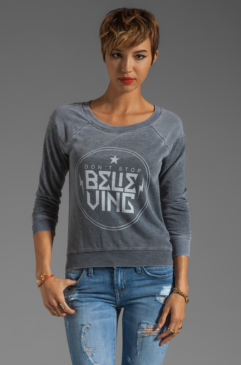 Chaser Don't Stop Believing Raglan in Dark Gray
