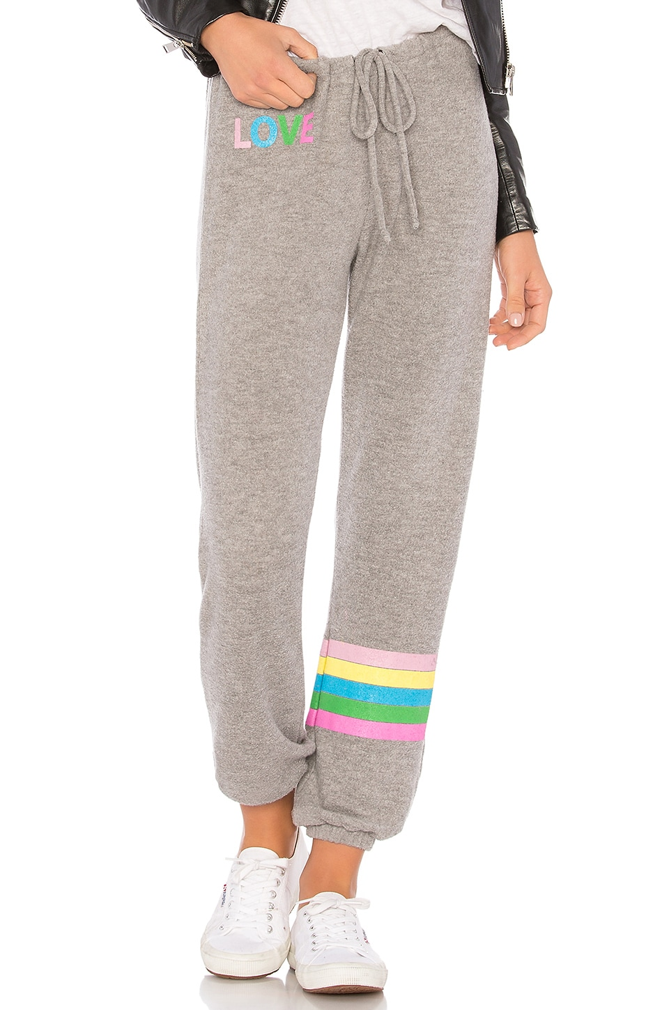 Chaser Rainbow Stripe Sweatpant in Grey