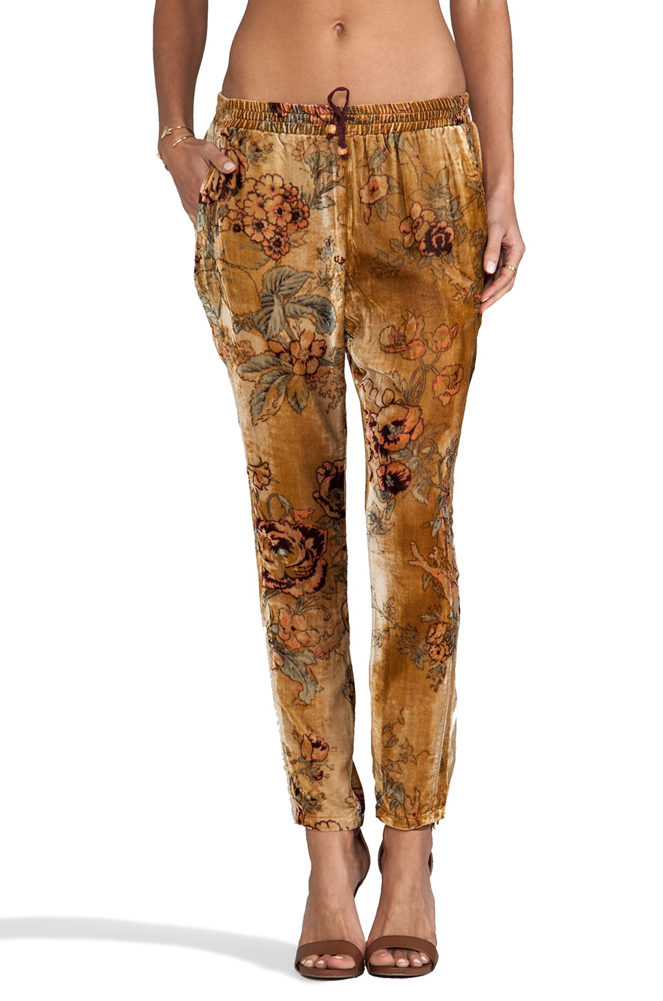 Chaser Velvet Slouchy Pant Antique Rose Velvet with Dip Dye