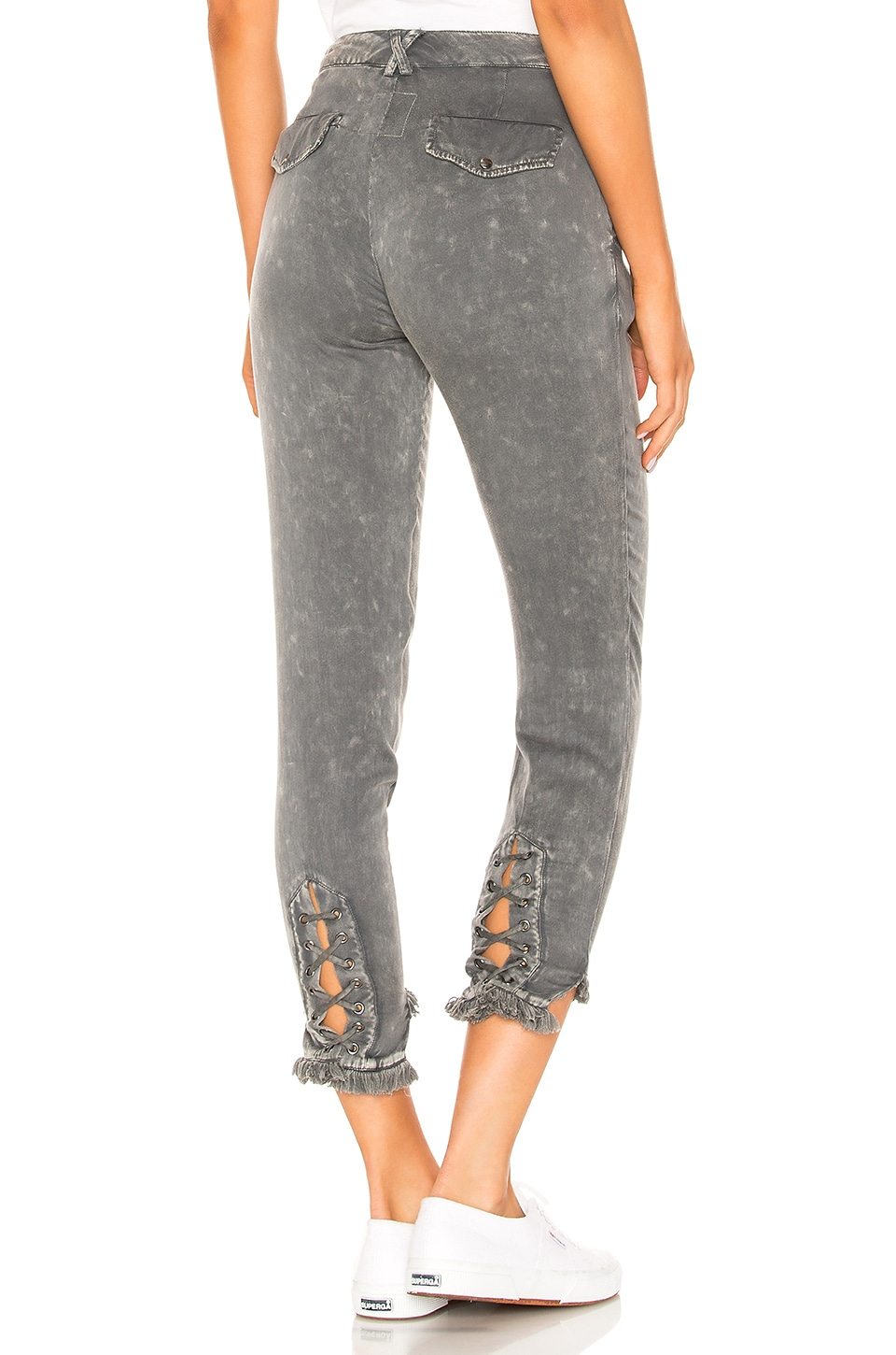 Chaser Lace Up Pant with Frayed Edge in Flax Cloud Wash