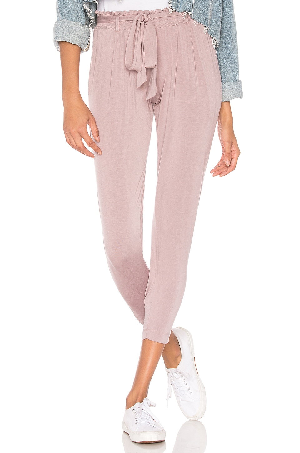 Chaser Belted Smocked Paperbag Waist Pant in Heliotrope