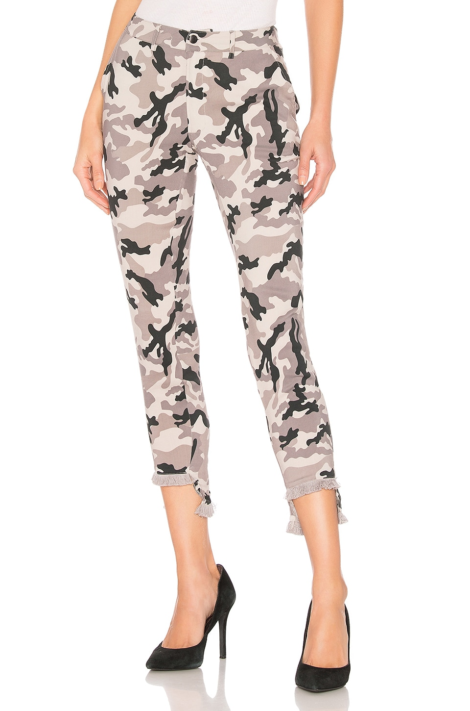 Chaser Lace Up Pant with Frayed Edge in Camo