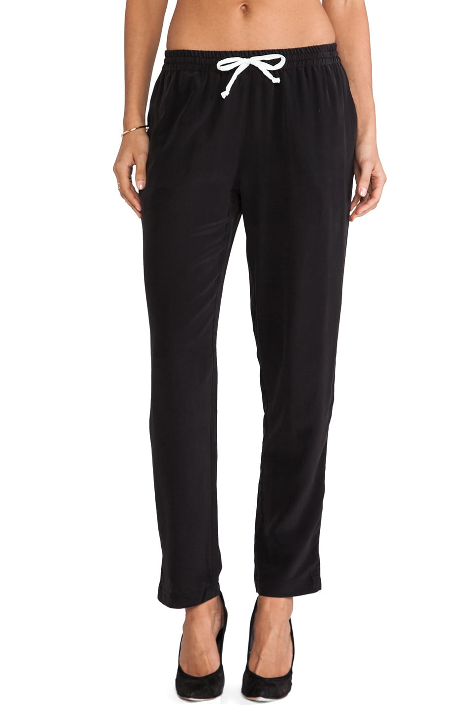 Chaser Slouchy Silk Pant in Black
