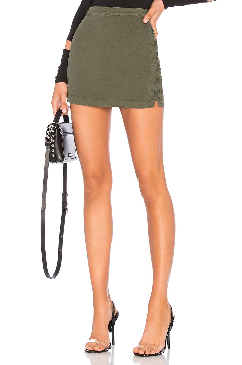 Chaser Lace Up Utility Mini Skirt in Safari