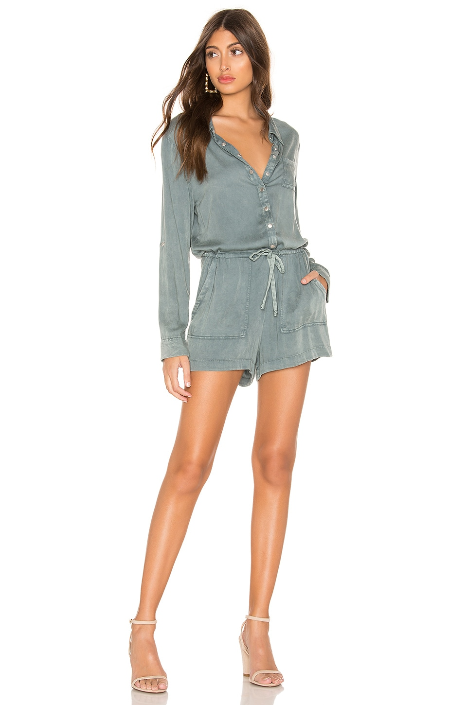 Chaser Snap Front Collared Romper in Succulent Cloud Wash
