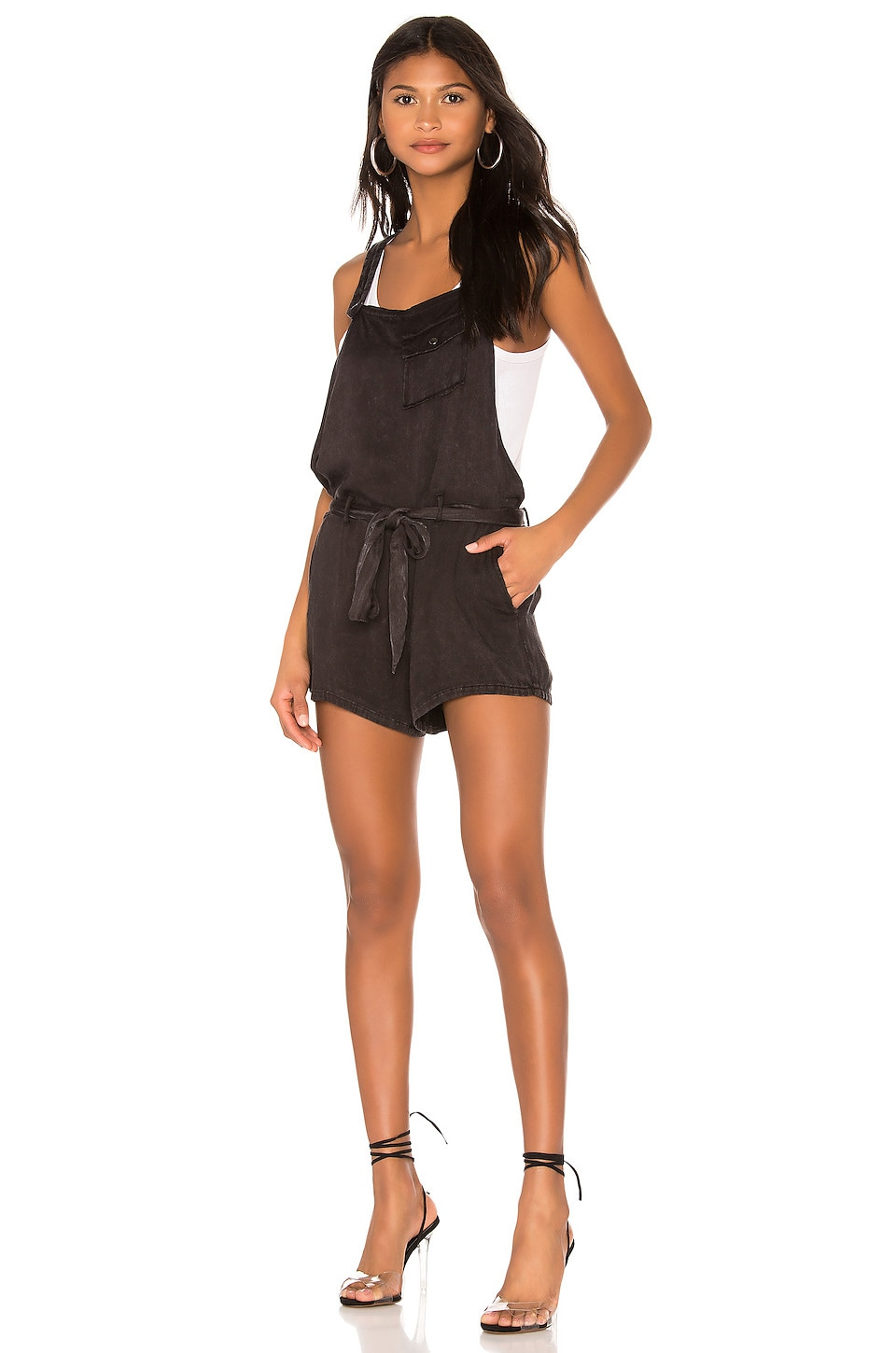 Chaser Flouncy Shortalls in Black Cloud Wash