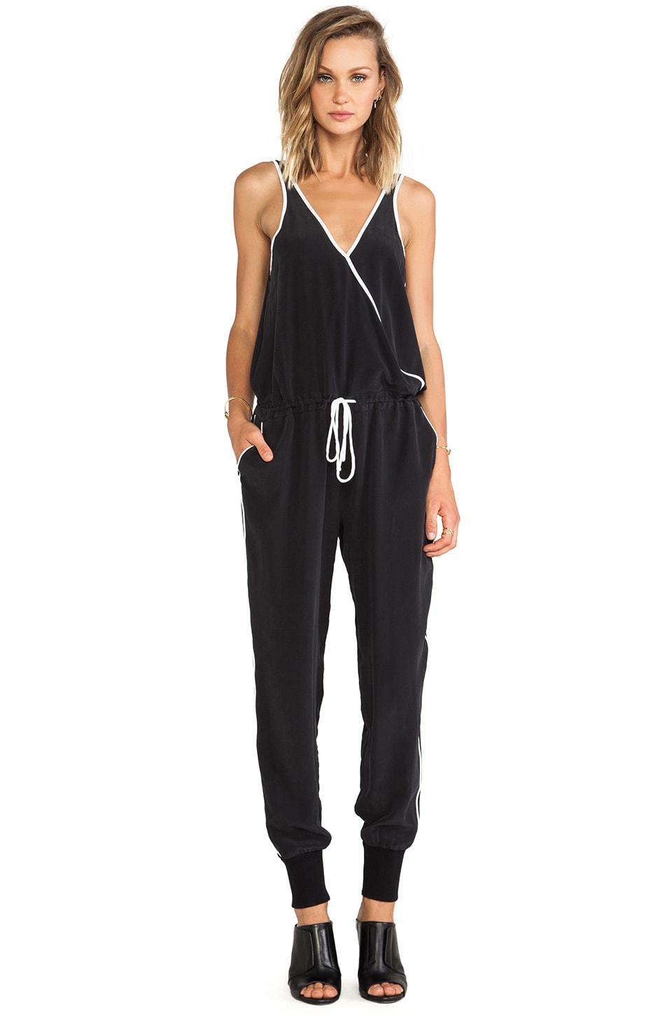 Chaser Contrast Piping Jumpsuit in Black