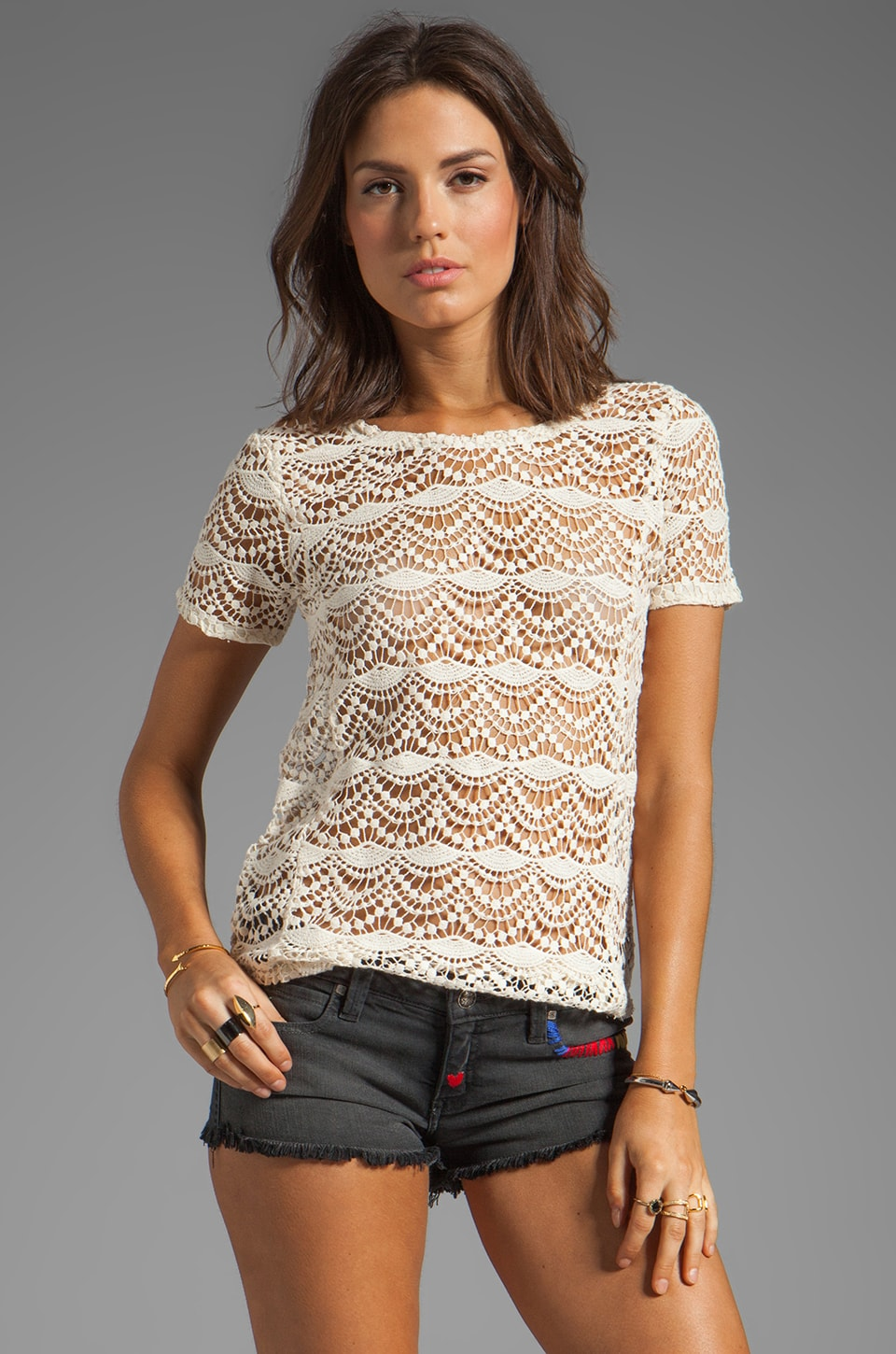 Chaser Spanish Lace Shirttail Tee in Muslin