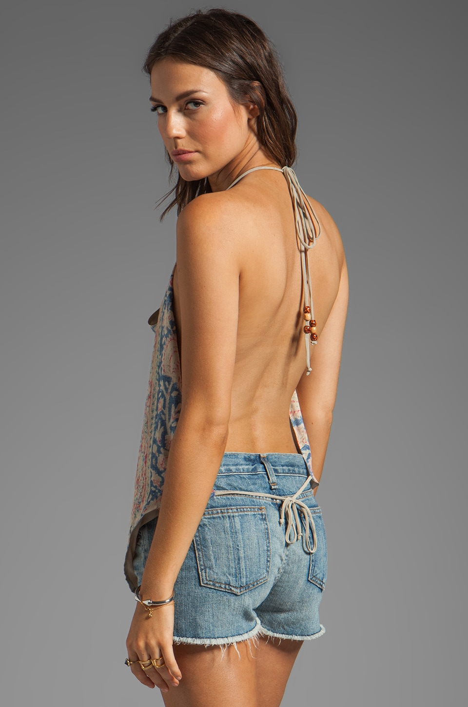 Chaser Vintage Tapestry Silk Halter in Sand Washed