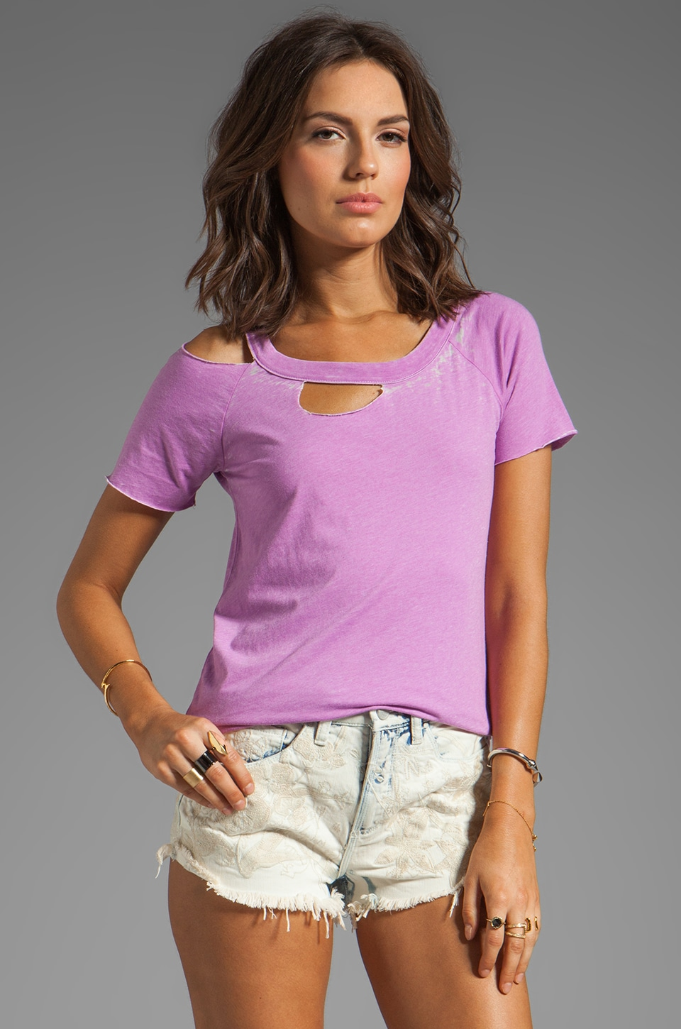 Chaser Vintage Jersey S/S Deconstructed Tee in Wild Orchid