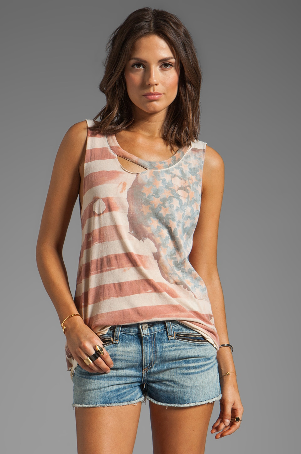 Chaser Vintage Flag Graphic Cotton Deconstructed Muscle Tee in Muslin
