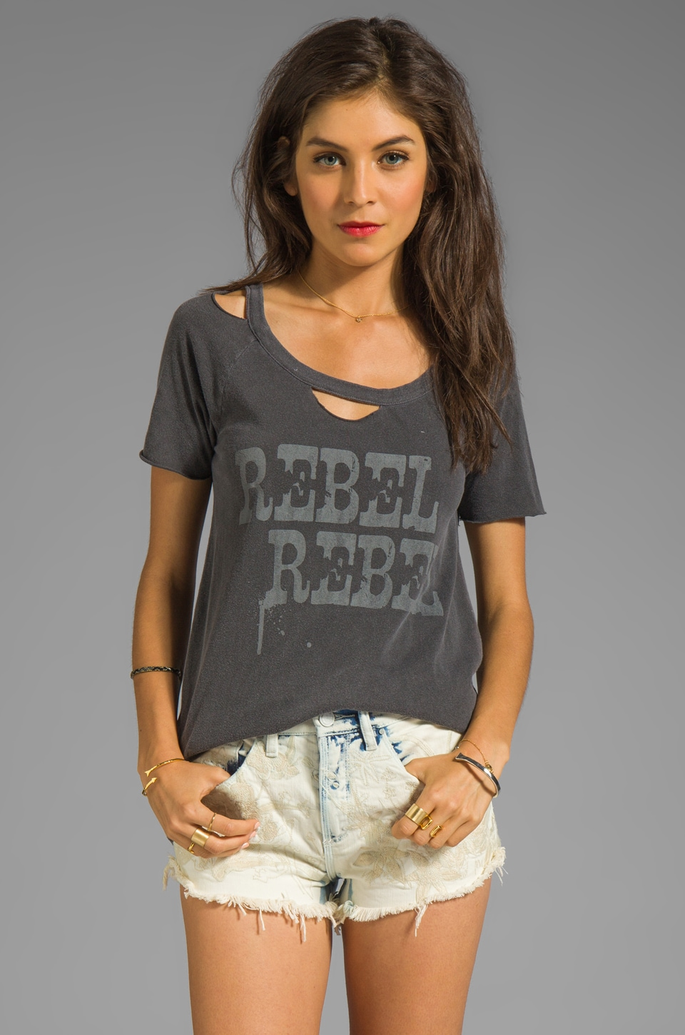 Chaser Rebel Rebel Graphic Cotton Deconstructed S/S Tee in Black