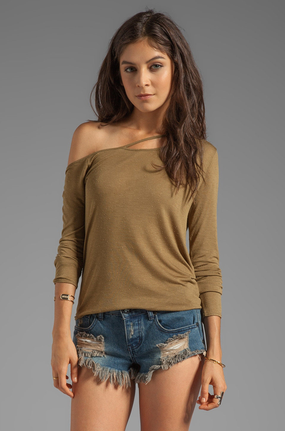 Chaser EXCLUSIVE Off The Shoulder Decon Tee in Caper