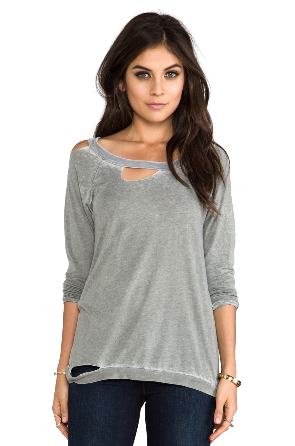 Chaser Long Sleeve Deconstructed Tee in Sage