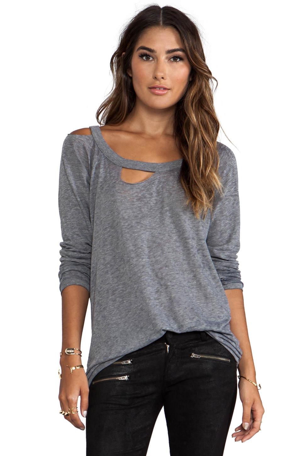 Chaser Long Sleeve Deconstructed Tee in Streaky Grey