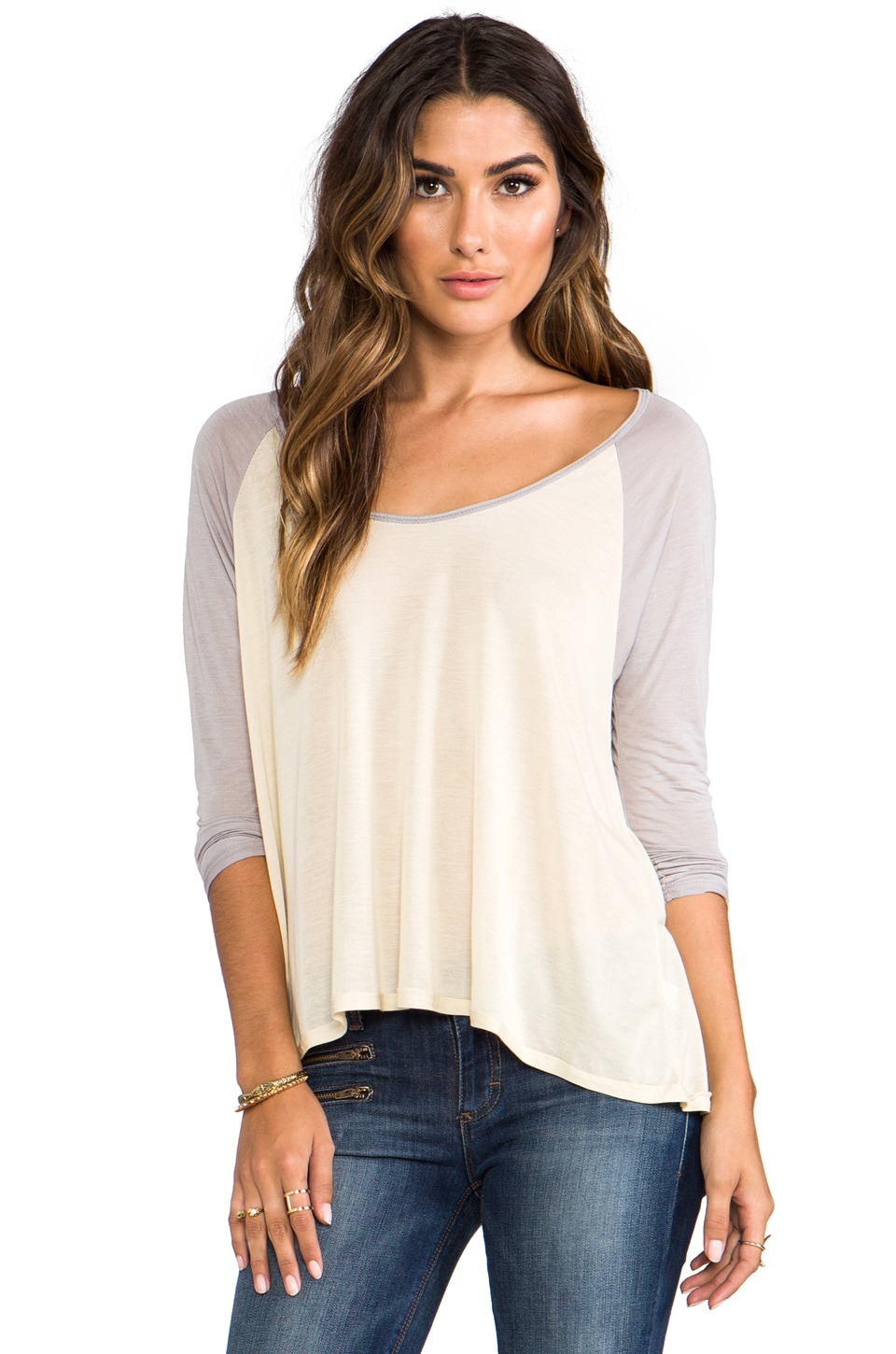 Chaser Long Sleeve Flounce Top in Muslin/Silver
