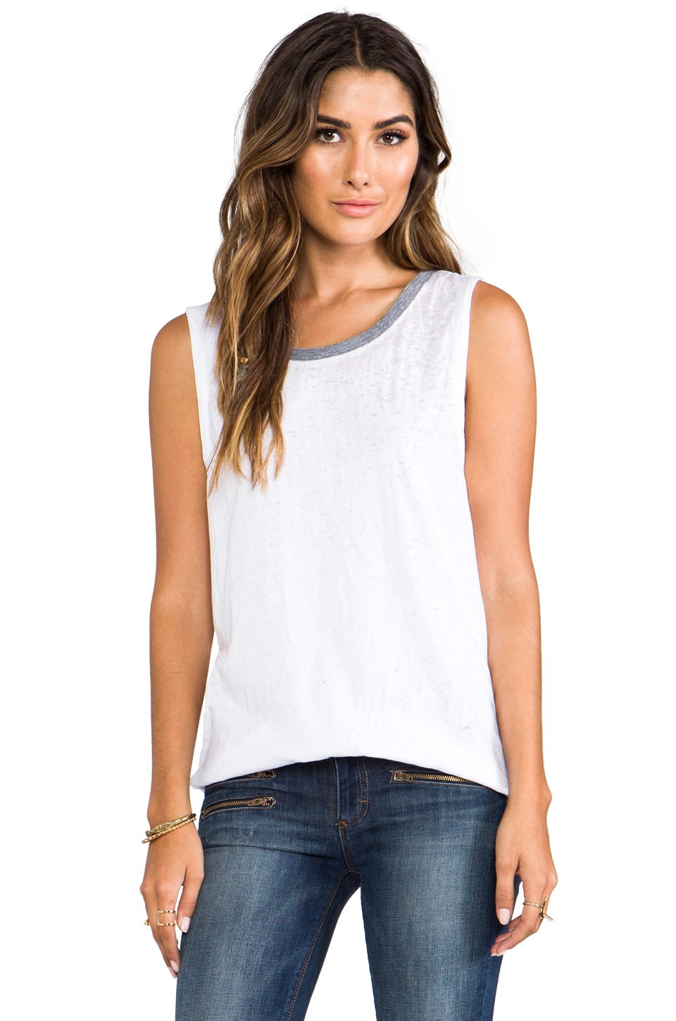 Chaser Muscle Ringer Tank in White