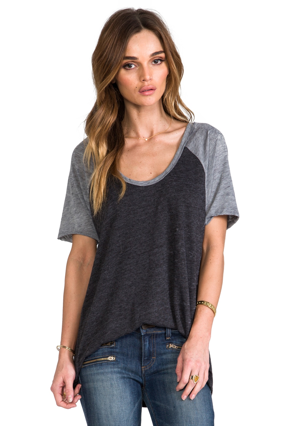 Chaser Pleat Back Baseball Tee in Grey/Black