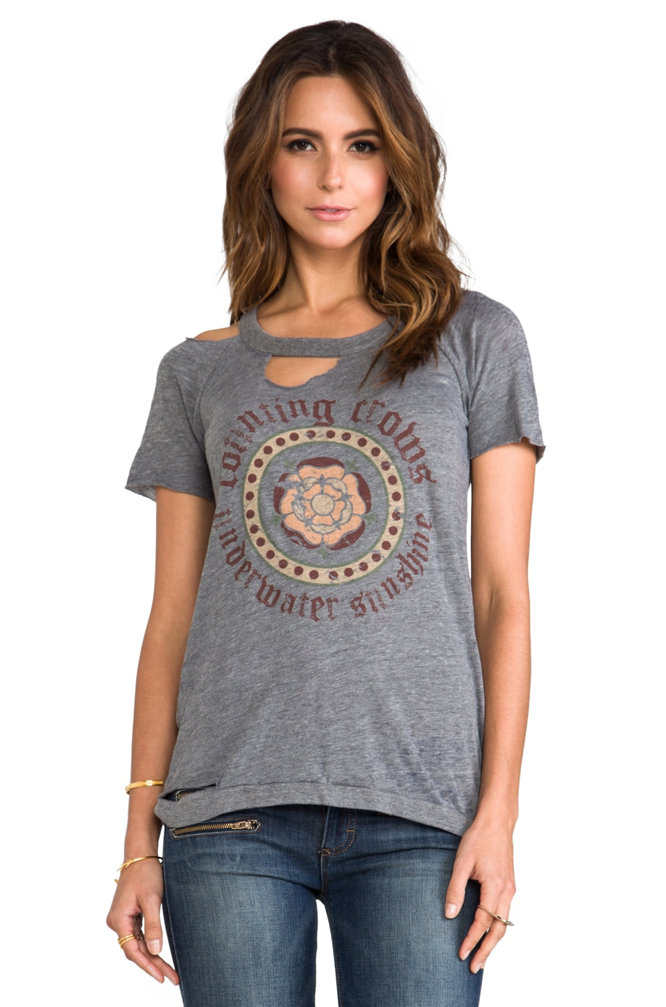 Chaser Flower Logo Counting Crows Deconstructed Tee in Stone Grey