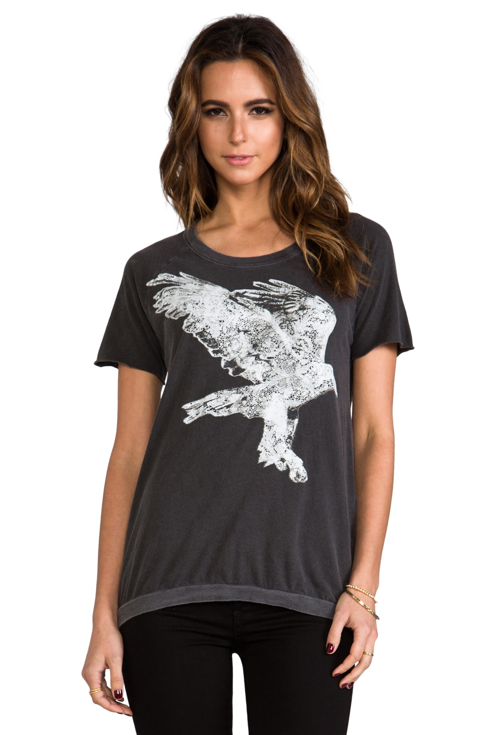 Chaser Lace Eagle Tee in Black