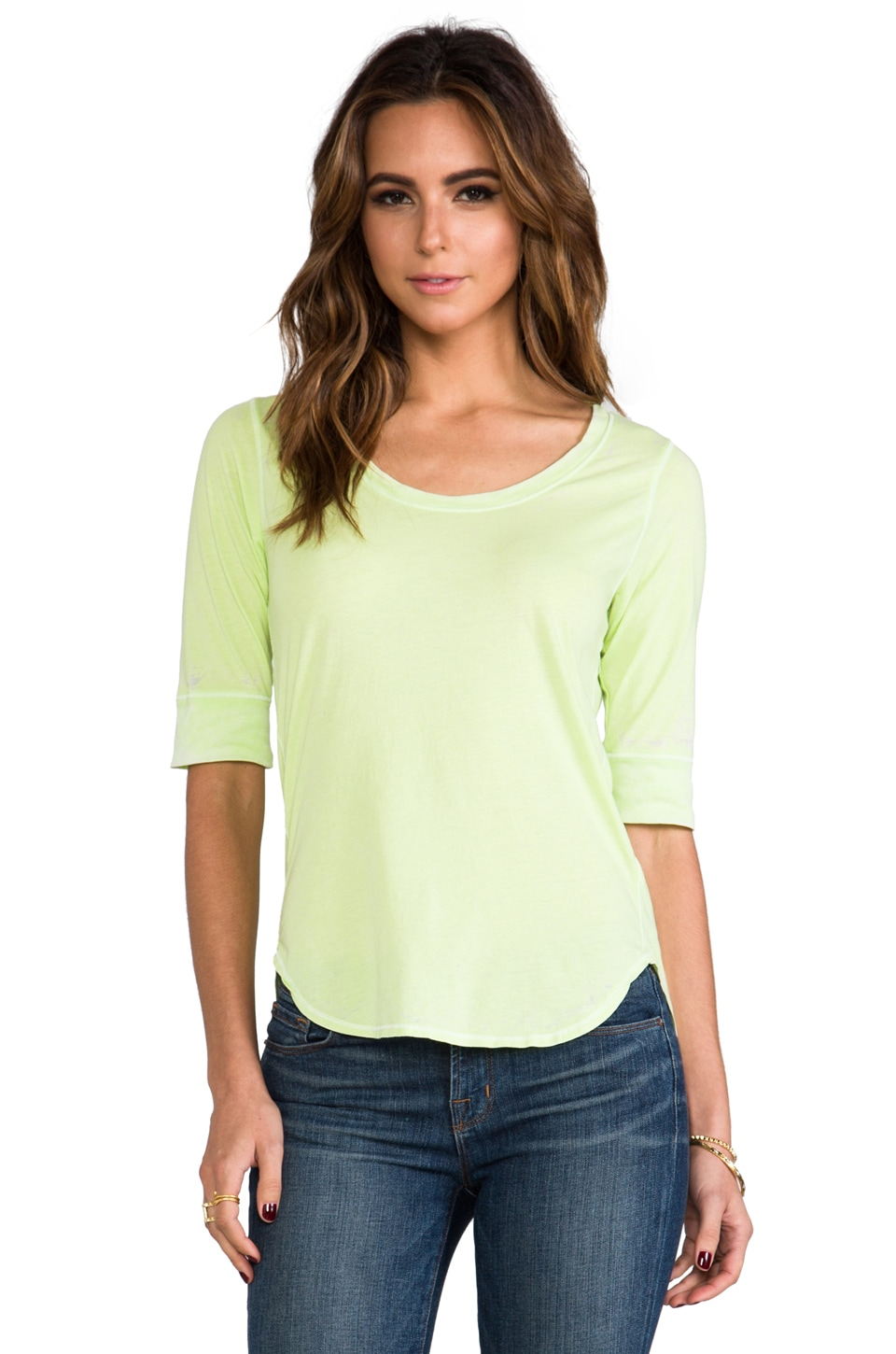 Chaser Elbow Sleeve Shirt Tail Tee in Lime