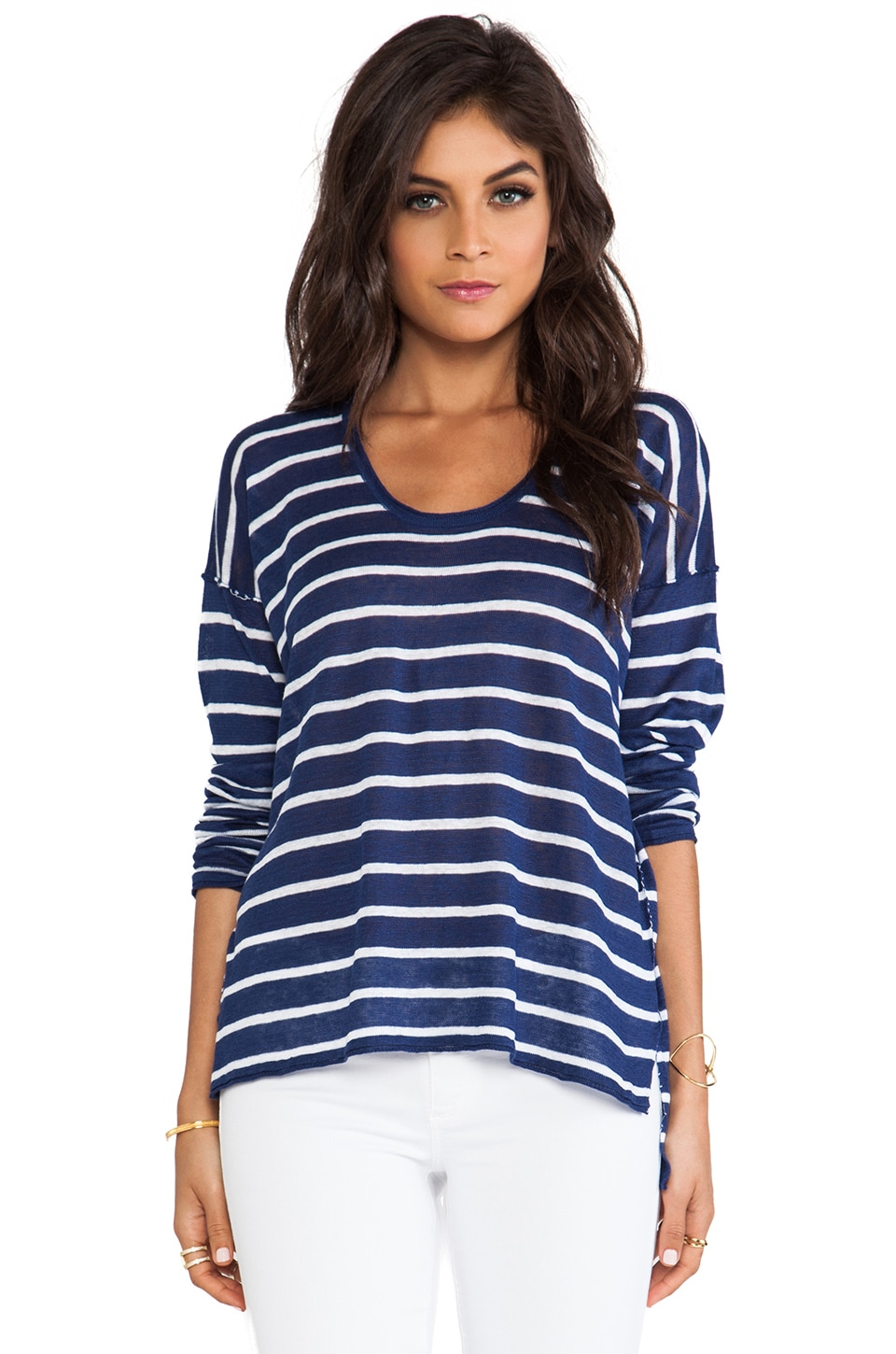 Chaser Long Sleeve Stripped Boxy Tee in Sapphire & White