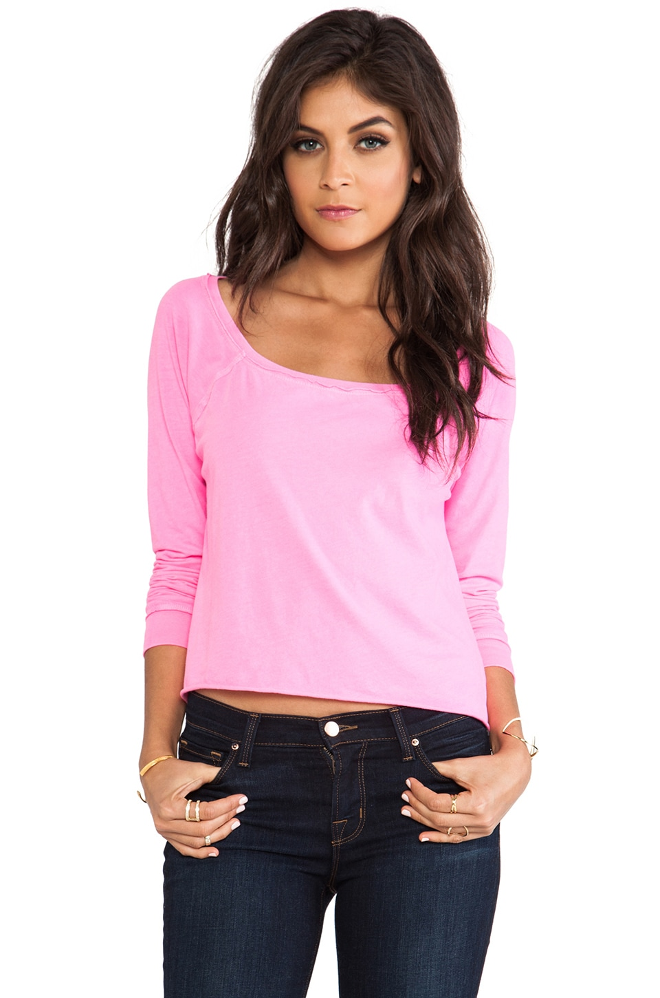 Chaser Long Sleeve Cropped Raglan in Lucky Pink