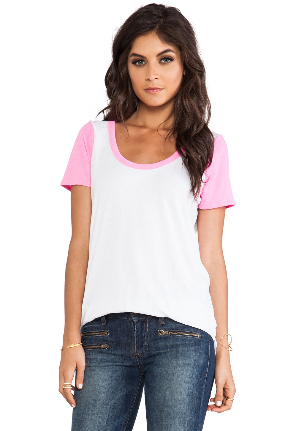Chaser Blocked Short Sleeve Tee in White & Lucky Pink