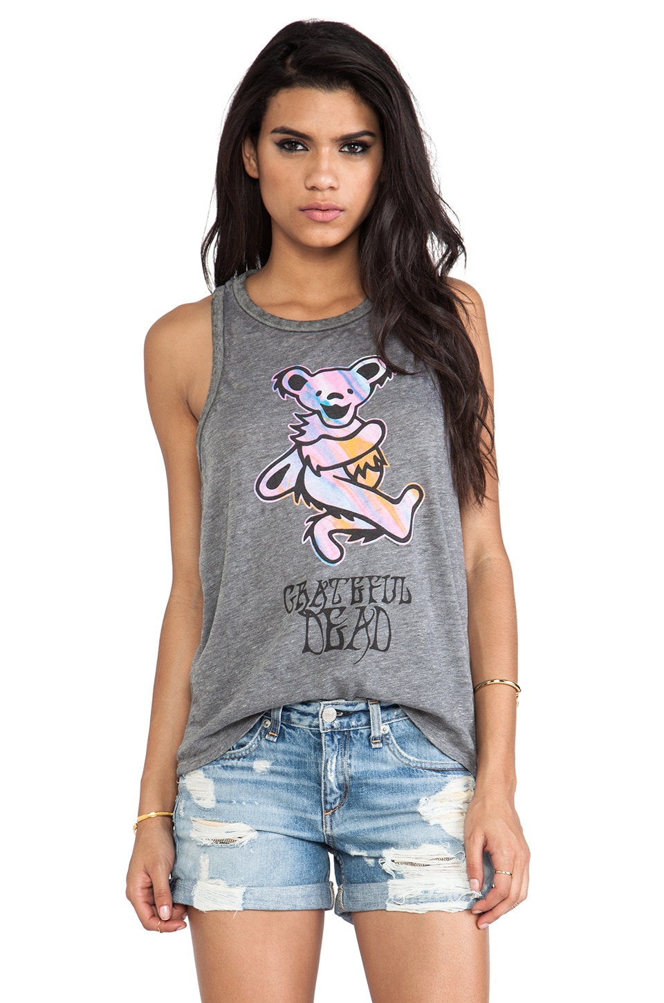 Chaser Tie Dye Bear Tank in Grey