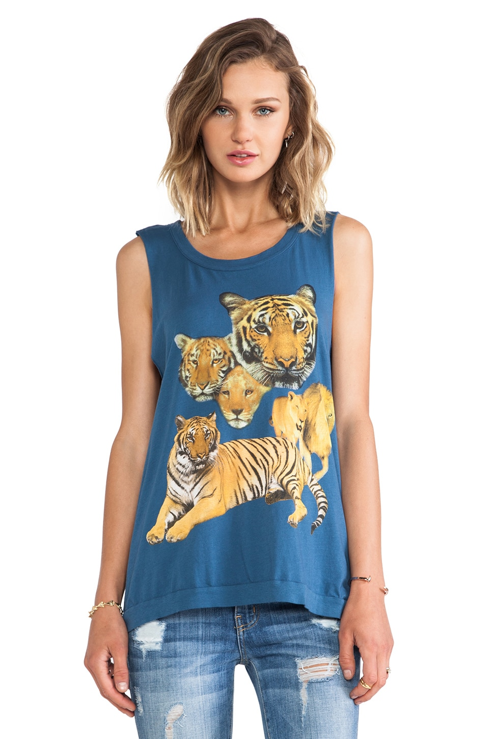 Chaser Lions and Tigers Muscle Tank in Wave