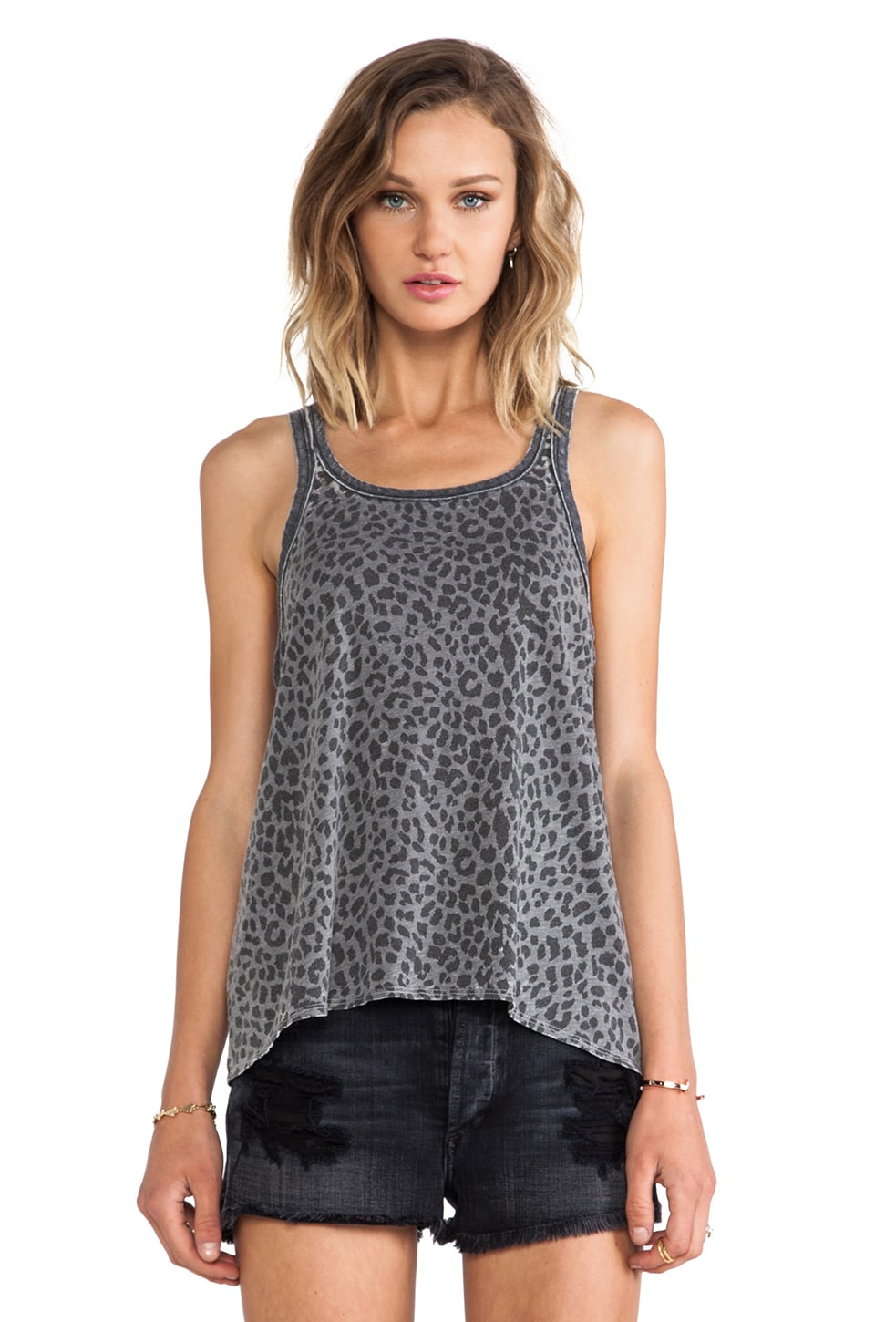 Chaser Raw Edge Animal Print Tank in Granite