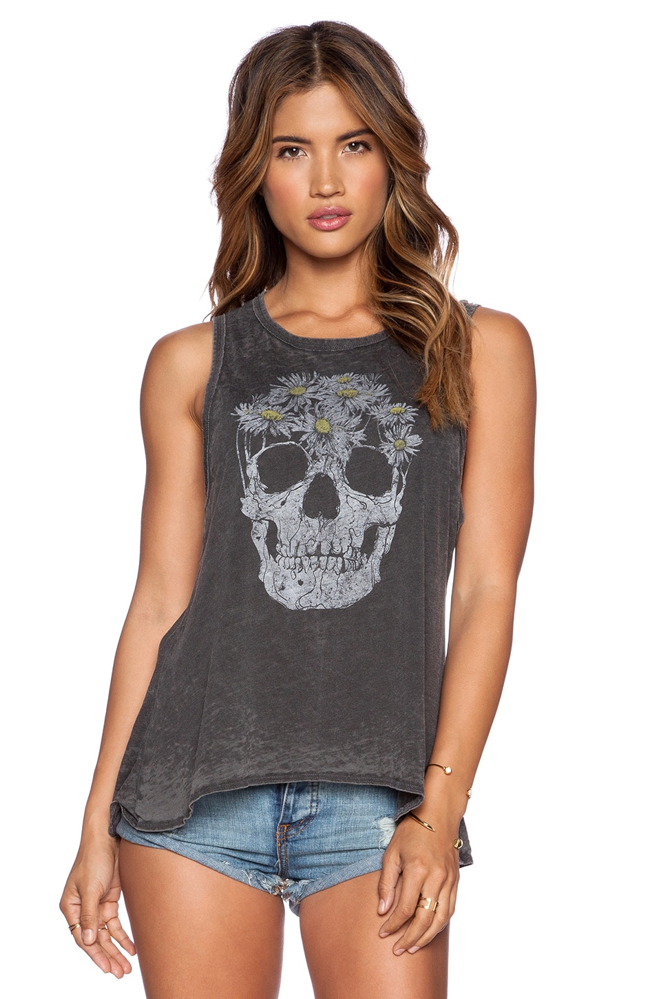 Chaser Skull Daisies Tank Top in Vintage Black