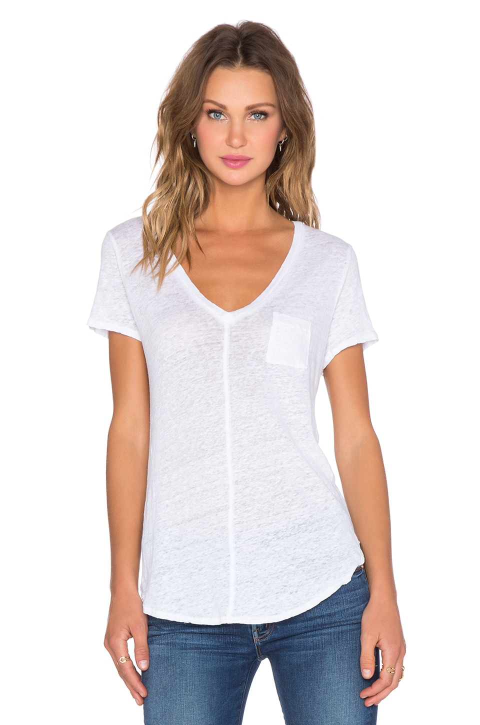 Chaser V Neck Pocket Tee in White