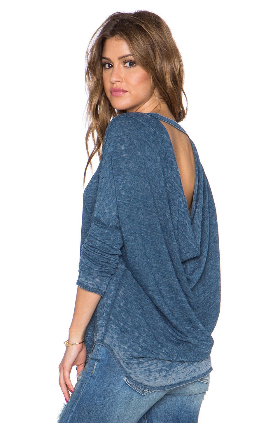 Chaser Drape Back Long Sleeve Dolman Tee in Rain