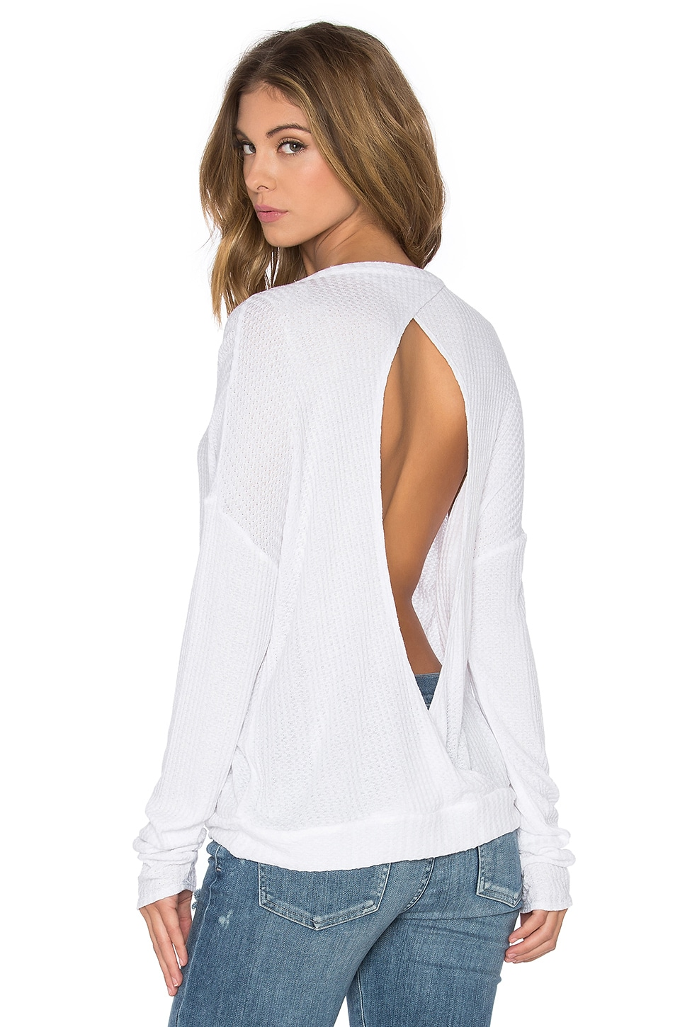 Chaser Thermal Open Back Long Sleeve Pullover in White