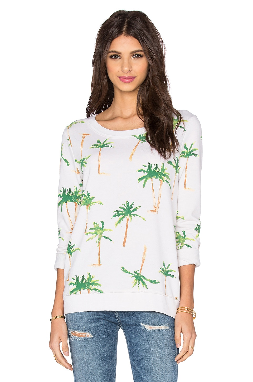 Chaser Palm Tree Breeze Long Sleeve Tee in Salt
