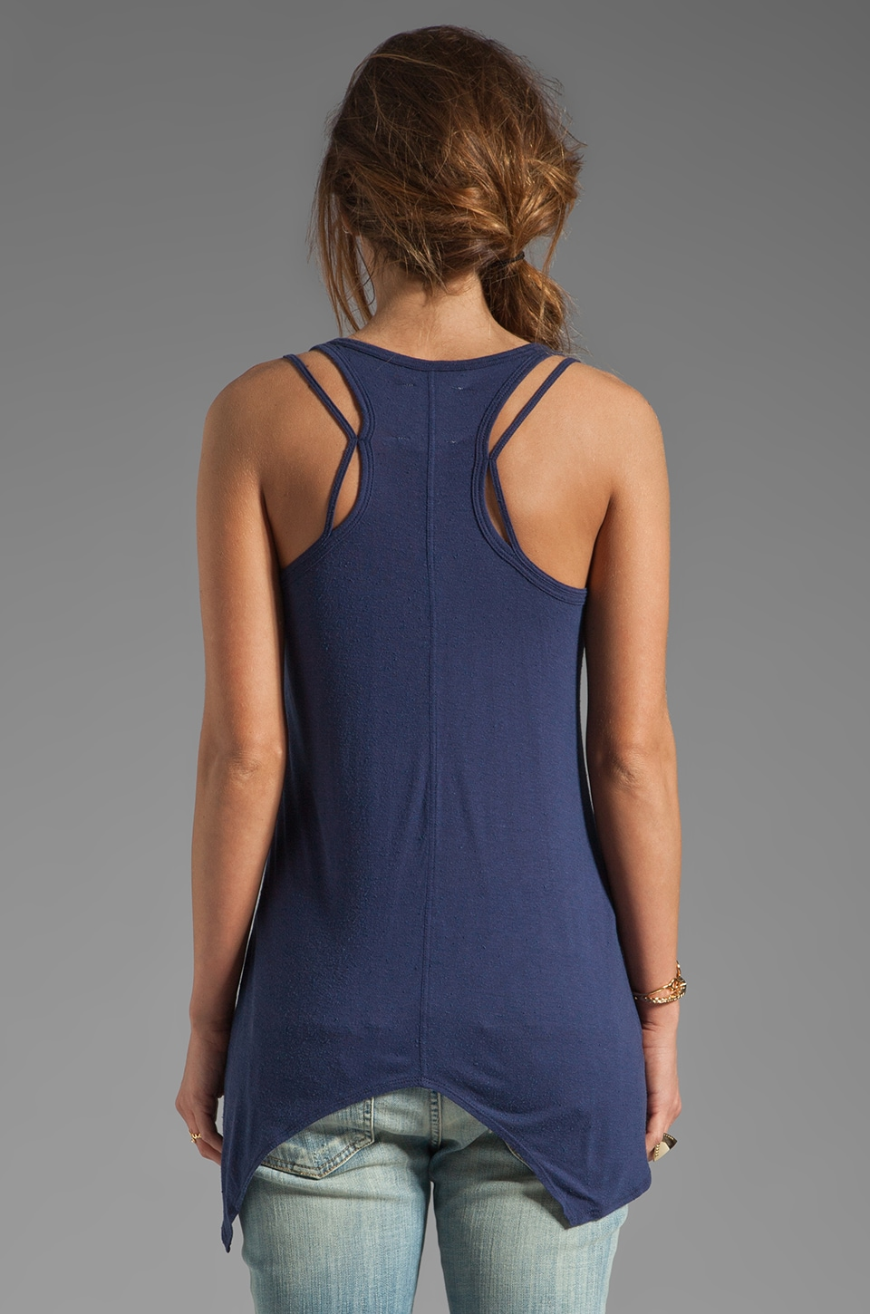 Chaser Deconstructed Strap Tank in Sapphire