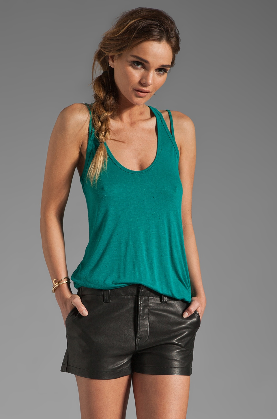 Chaser Deconstructed Strap Tank in Emerald