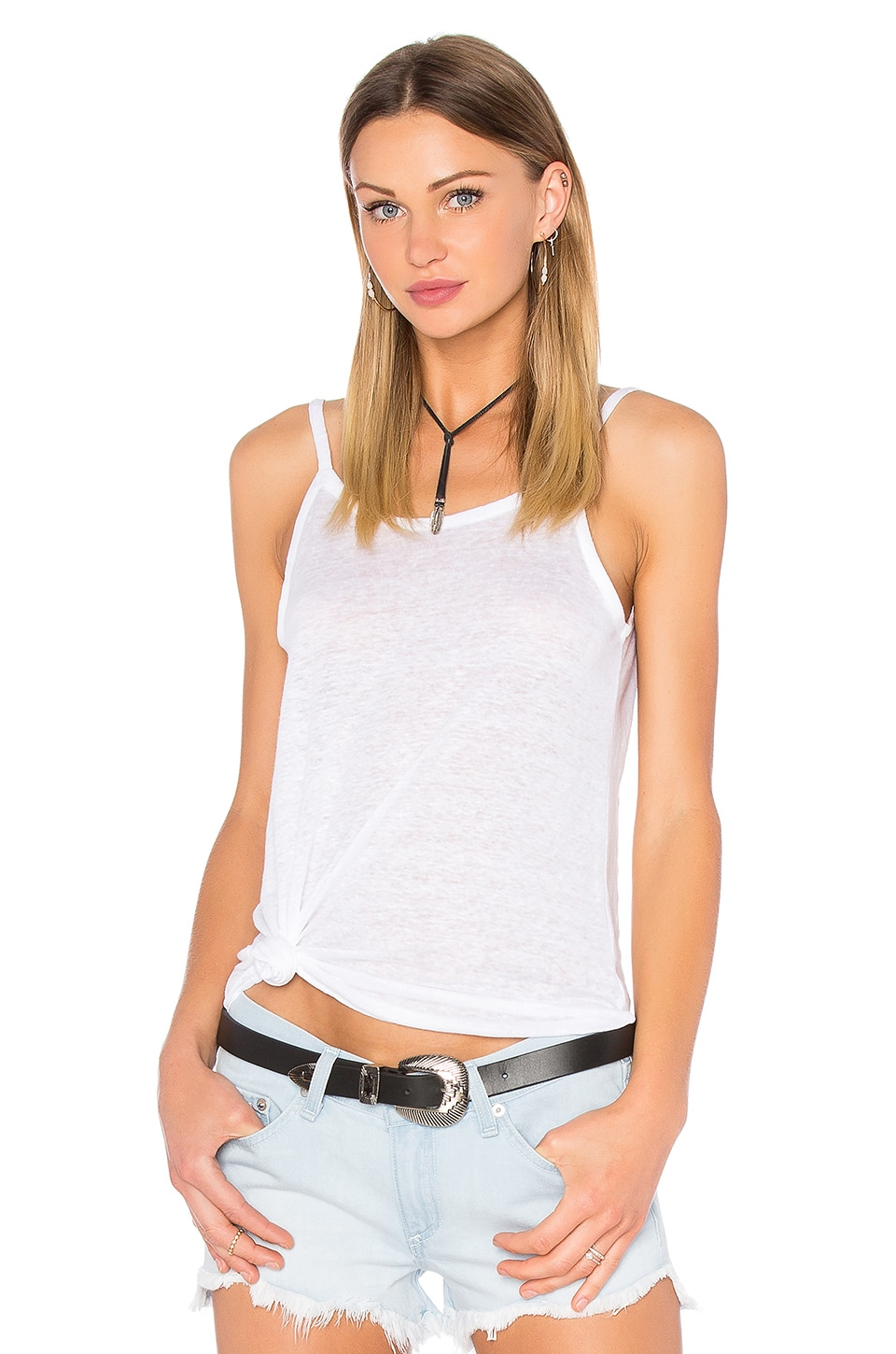 Chaser Scoop Back Flounce Tank in White