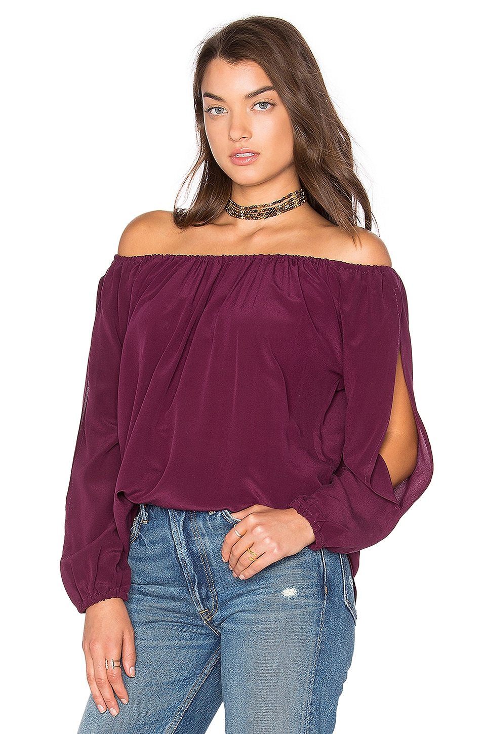 Open Sleeve Shirttail Boho Silk Top by Chaser