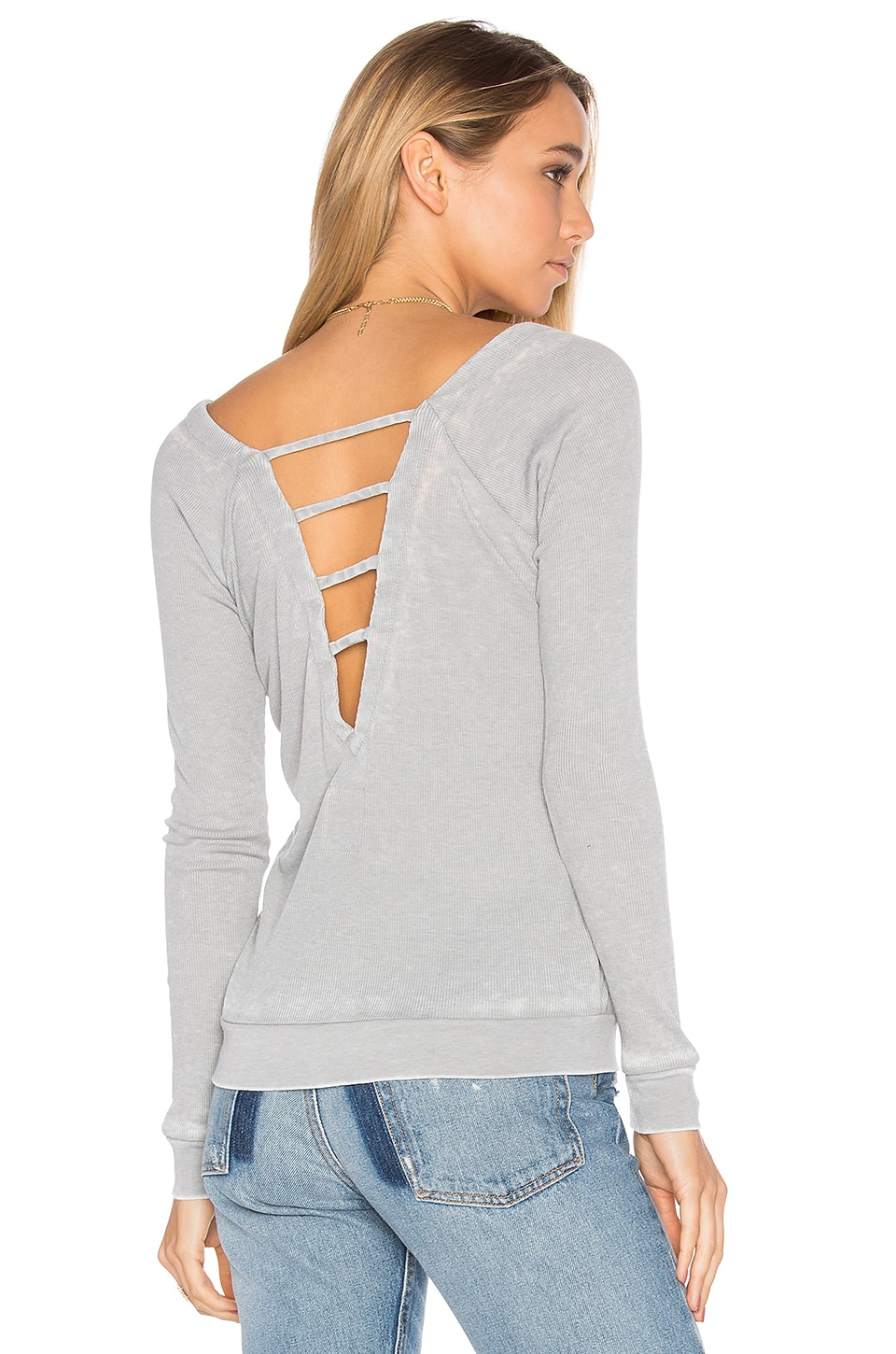 Chaser Strappy Double V Raglan Tee in Seagull