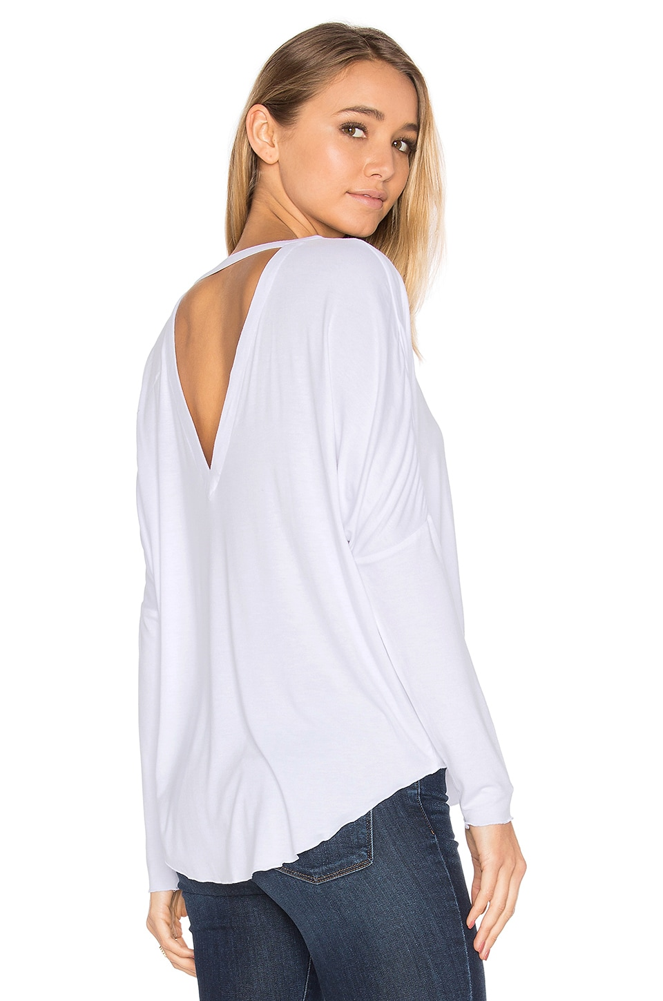 V Back Oversized Shirttail Dolman Tee by Chaser
